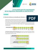 VenDIAN cambió cronograma de pago de impuestos para personas jurídicas y grandes contribuyentescimientos_2016