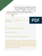 Modelo de Solicitud de Expedicion de Sentencia Sin Necesidad de Citar a Audiencia en Caso de No Apersonamiento de Otro Heredero
