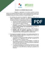 11-04-2016 COMUNICADO A LA OPINIÓN PÚBLICA No.005