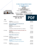 4 - 5. Schedule of Divine Services - April - May , 2016