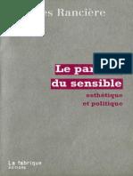 [Jacques Rancière] Le Partage Du Sensible Esth