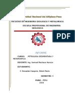 Informe de Petrologia Sedimentaria y Metamorficahuuuuuuuuuuuuuuuuuuuuuuuuuuuuuuu