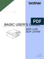 Basic User Guide for DCP-J315W Printer