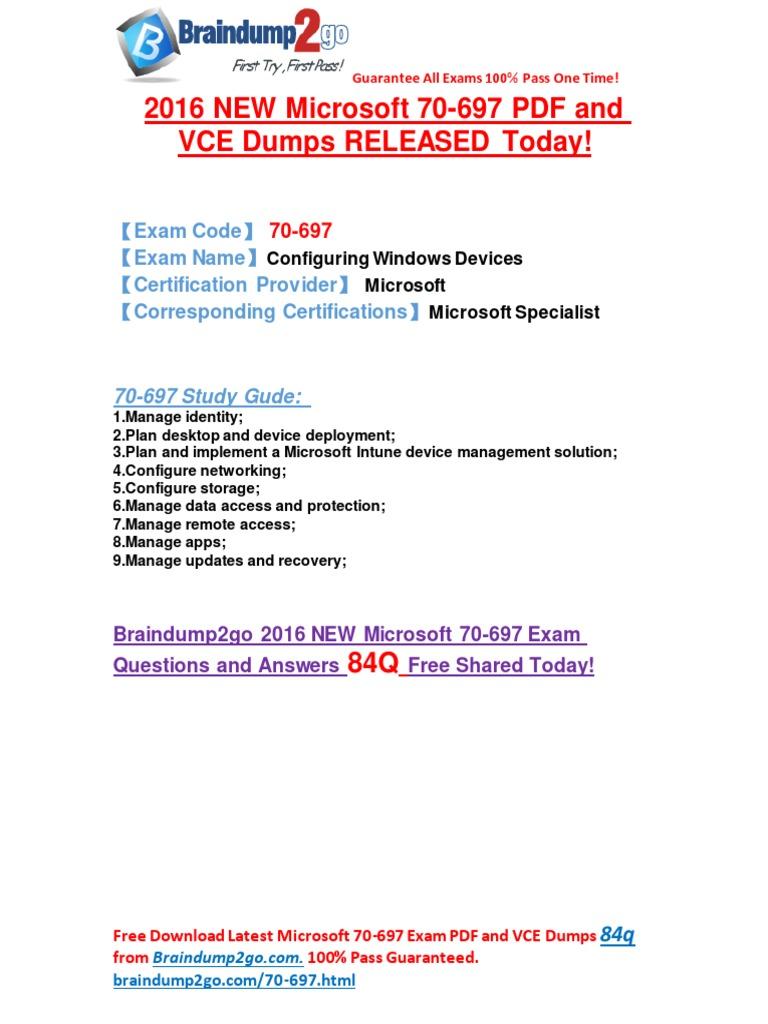 2016 Latestmicrosoft 70 697 Exam Pdf And Vce Dumps 84q Share