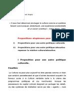 Propositions Pour Une Autre Politique Culturelle Et Éducative