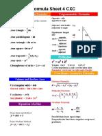 Maths Formula Sheet for CSEC