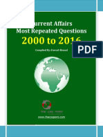 Most Repeated Question Current Affairs - 2000 to 2016