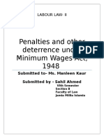 Penal provision and other deterrence under minimum wages act