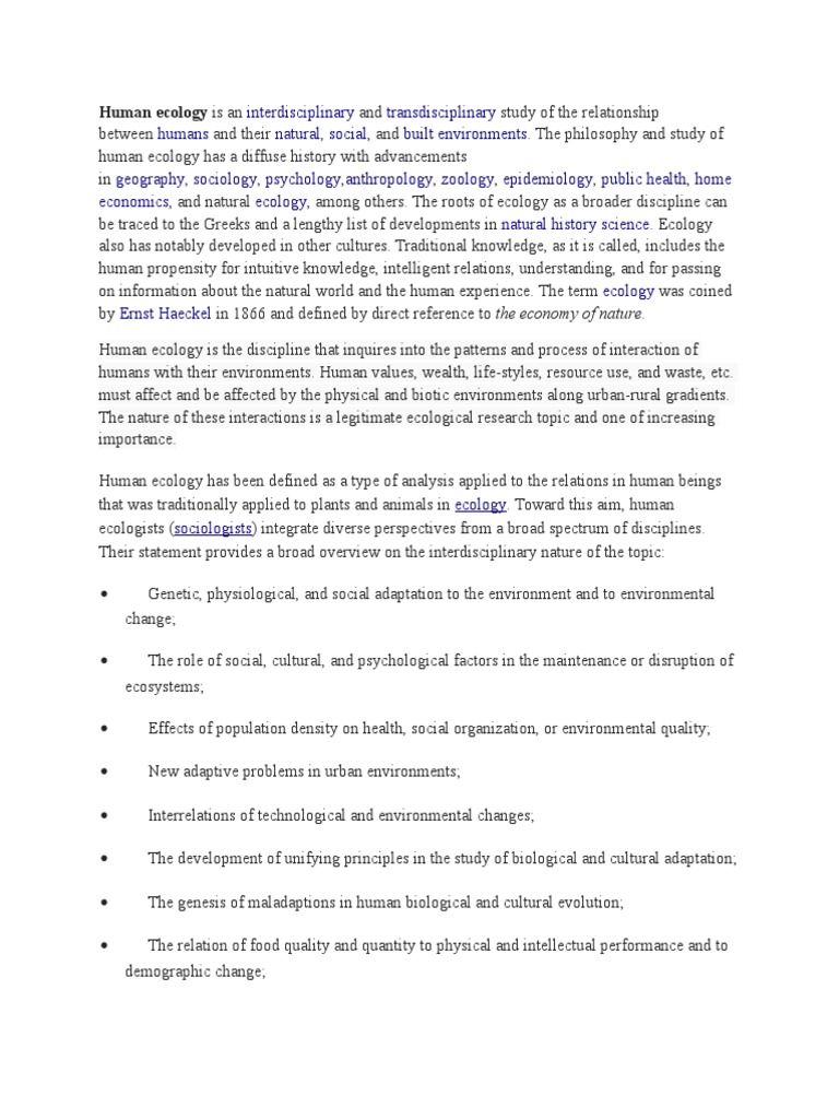 human ecology research topics
