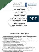0 Planificare Cultura Civica Clasa a Viii a 20152016