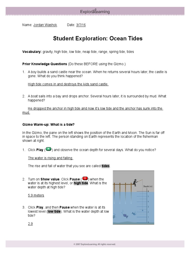 worksheet Tides Worksheet collection of tides worksheet answer key adriaticatoursrl 12 ocean explore learning gizmo tide moon