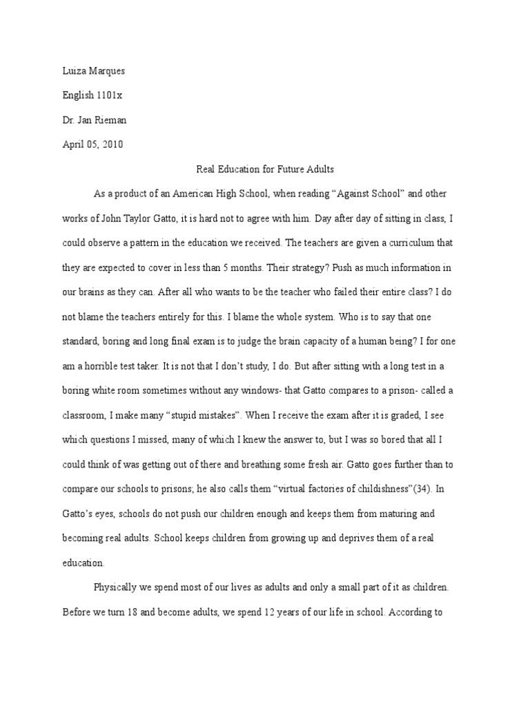 John Taylor Gatto -Final Piece | Test (Assessment) | No Child Left Behind  Act