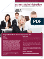 MBA in Health Care Leadership - offered ONLINE