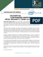 NP Intel Security - Olvidó su contraseña maestra Intel Security tiene la solición