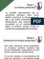1. Calidad de Los Fluidos Producidos, Subtemas 1.1 y 1.2