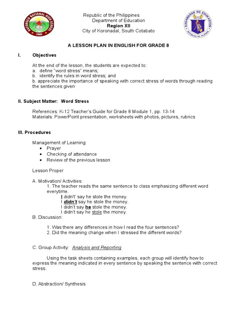 Lesson Plan 1 Stress Stress Linguistics Lesson Plan