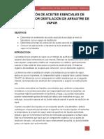 EXTRACCIÓN DE ACEITES ESENCIALES DE EUCALIPTO POR DESTILACIÓN DE ARRASTRE DE VAPOR