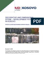 Decorative and Dimensional Stone – Development Potential in Kosovo