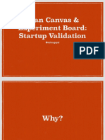 Lean canvas experiment board Startup validation