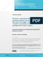 Betina Ferrante, Prensa y Prácticas Literarias Santracruceñas en Las Primeras Décadas Del Siglo XX