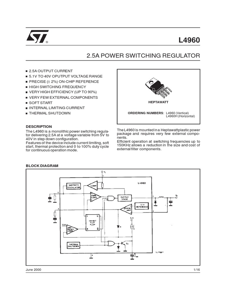 L4960 Electronic Oscillator Amplifier Down Switching Regulator On Step Voltage 5v Schematic