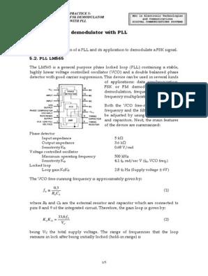 FSK Demodulator With PLL   Detector (Radio)   Modulation