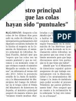 """160413 La Verdad CG- El Ministro Principal Espera Que Las Colas Hayan Sido """"Puntuales""""p.9"""