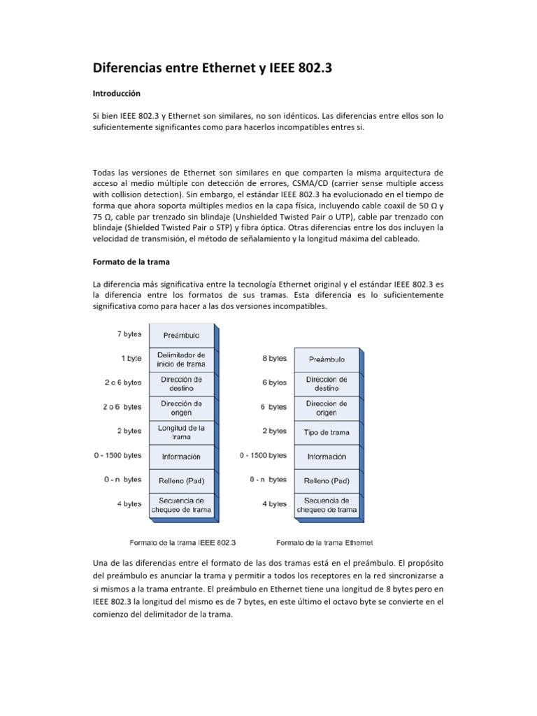 Diferencias Entre Ethernet y IEEE 802