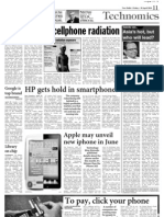 Concern over Cellphone Radiation - Article in Asian Age - 30 April 2010 Page 11