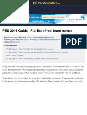 PES 2016 Guide - Full List of Real Team Names - VideoGamer