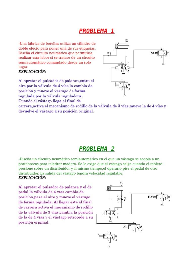 Circuito Neumatico Simple : Explicación de problemas de circuitos neumáticos