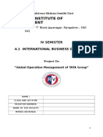 Global Operations of TATA Group