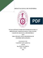 EVALUACIÓN DE LOS MÉTODOS ESTIMATIVOS PARA LA MEDICIÓN DEL TAMAÑO DE GRANO, Y EFECTOS DEL TAMAÑO DE GRANO EN LA MICRODUREZA