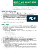 Americans for Prosperity FY 2017 Taxpayers' Budget - Executive Summary