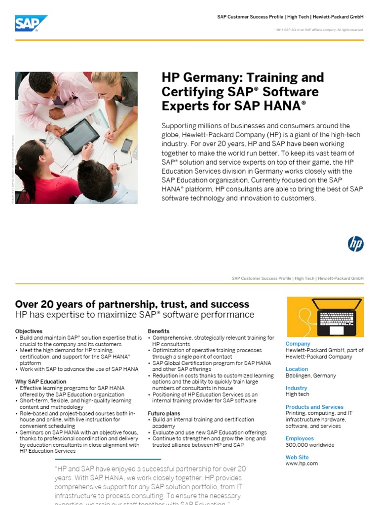 Training and Certifying SAP® Software Experts for SAP HANA ...