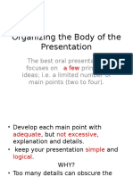 body of presentation