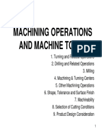Machining operations and Machine Tools