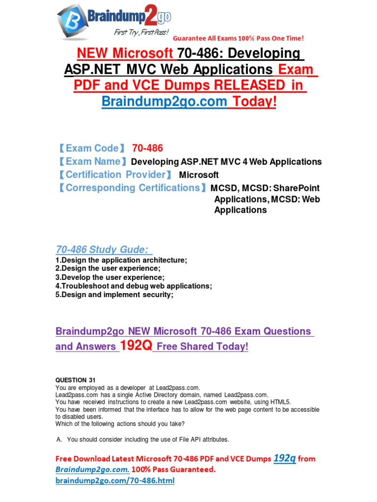 Microsoft 70 486 Dumps Pdf Offer Active Directory Microsoft