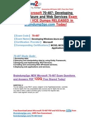 New Microsoft 70-487 Exam Questions PDF 122Q&as Share | Entity