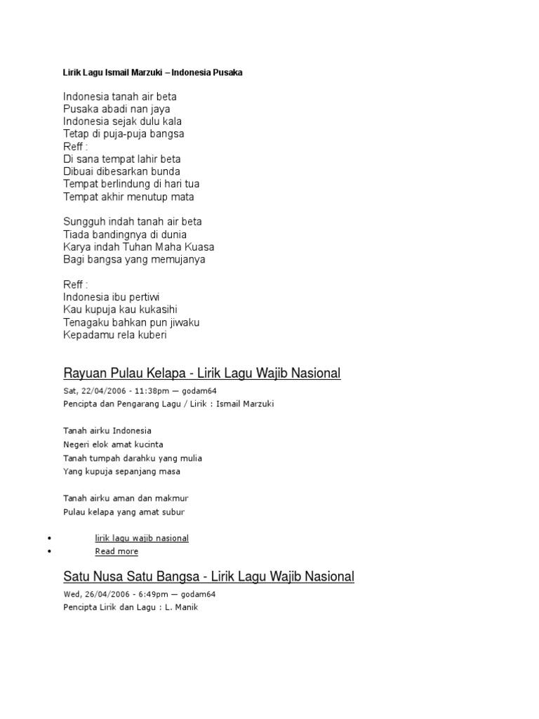 Lagu Wajib Nasional Lirik Docx