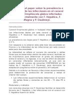 Resumen Del Paper Sobre La Prevalencia e Intensidad de Las Infecciones en El Caracol Lymnaeid Omphiscola Glabra Infectados Experimentalmente Con F