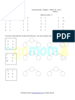 Addition Number Bonds Worksheet Set C Grade 1
