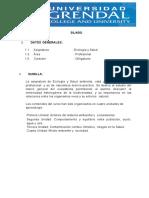 Silabus de Ecologia y Salud 1