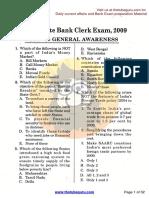 SBI Associate Bank Clerk Exam, 2009