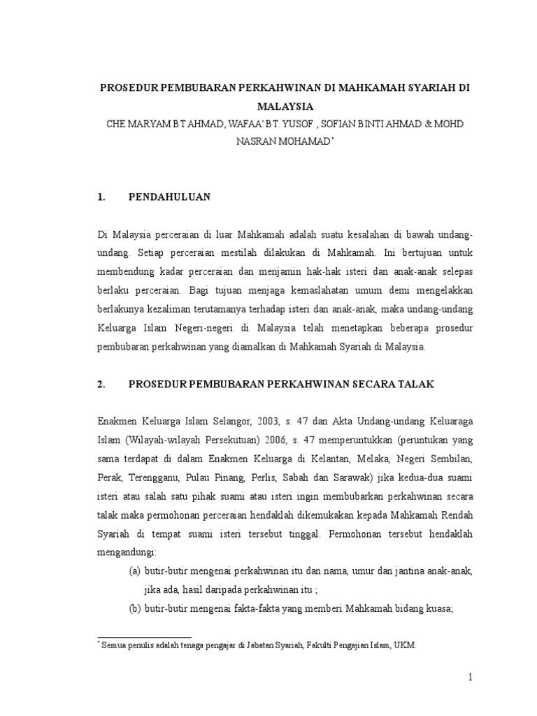 Prosedur Perceraian Di Mahkamah Syariah Malaysia Iii Doc