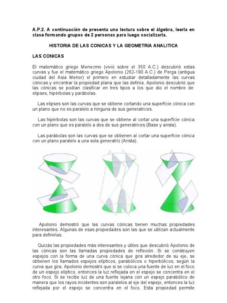 Historia De Las Conicas Y La Geometria Analitica Geometria