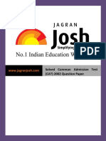 Question Papers Sample Papers Solved Common Admission Test (CAT) 2002 Question Paper