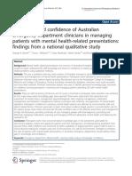 Pengetahuan Dan Kepercayaan Dari Klinisi Gawat Darurat Australia Dalam Mengelola Pasien Dengan Presentasi Kesehatan Mental Temuan Dari Studi Kualitatif Nasional