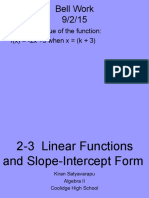 2-3 linear fns and slope int form