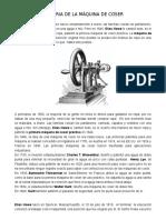 Historia de La Maquina de Coser